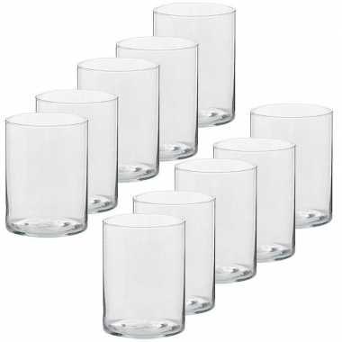 10x hoge waxinelichthouders/waxinelichthouders glas 5,5 x 6,5 cm