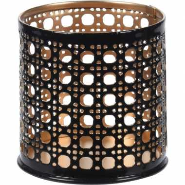 10x waxinelichthouders/waxinelichthouders zwart/goud metaal 6 cm