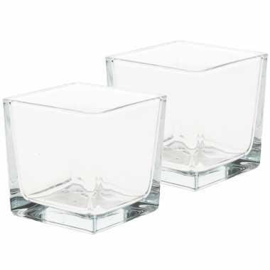 10x waxinelichtjes/waxinelichtjes kaarsenhouders kubusvormig 8 x 8 cm