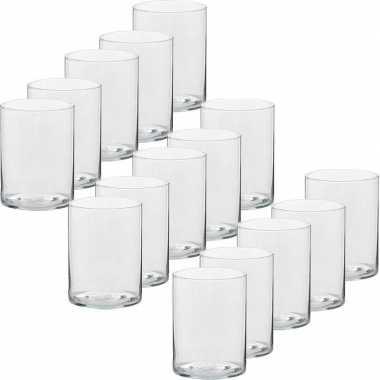 15x hoge waxinelichthouders/waxinelichthouders glas 5,5 x 6,5 cm