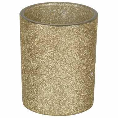 1x gouden waxinelichthouders/waxinelichthouders glitter 10 cm