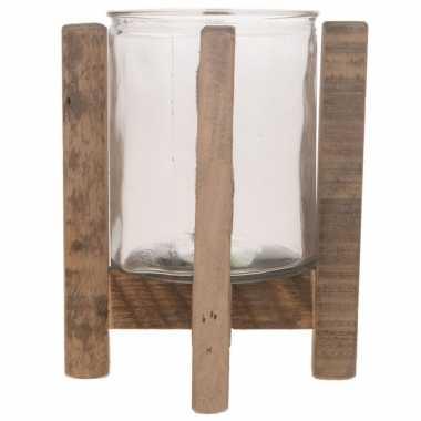 1x houten waxinelichthouders/waxinelichthouders 17,5 cm