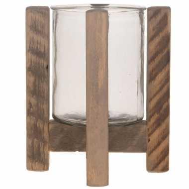 1x houten waxinelichthouders/waxinelichthouders 21 cm