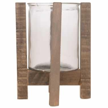 1x houten waxinelichthouders/waxinelichthouders 24,5 cm