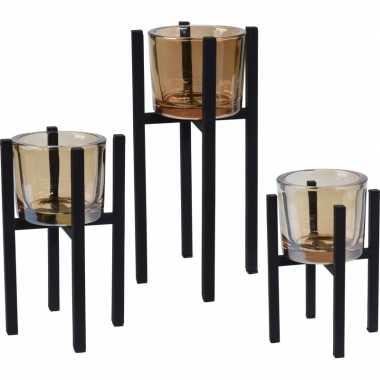 1x set van 3x waxinelichthouders/kaarsenhouders/waxinelichthouder zwart metaal