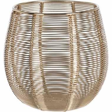1x waxinelichthouder/waxinelichthouder goud metaaldraad 12 cm