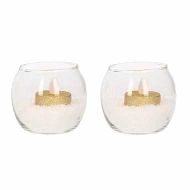 2 waxinelichthouders met gouden led lichtjes