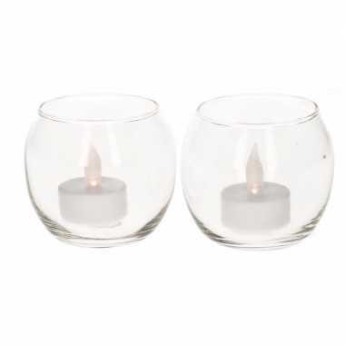 2 waxinelichthouders met led lichtjes