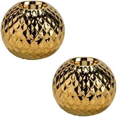 2x gouden waxinelichthouders/waxinelichthouders diamond 8,6 cm