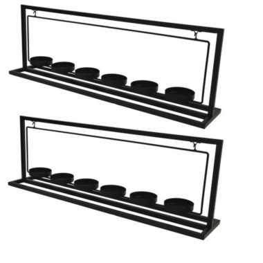 2x metalen waxinelichthouder/waxinelichthouder 56 cm voor 6 waxinelichtjes