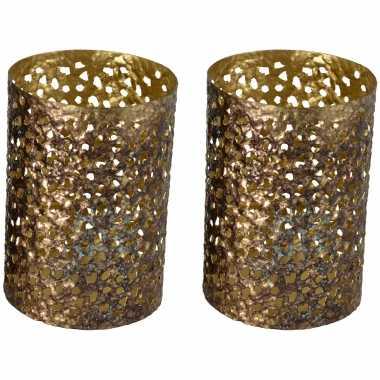 2x stuks metalen waxinelichthouders/waxinelichthouders goud grof motief 12 x 17 cm
