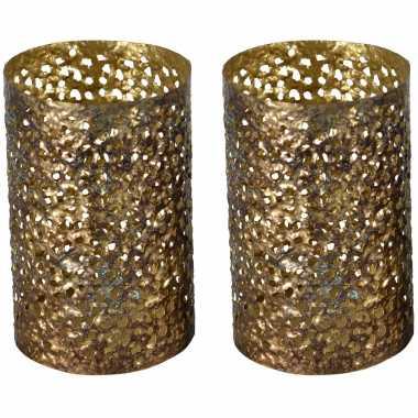 2x stuks metalen waxinelichthouders/waxinelichthouders goud grof motief 14 x 21 cm