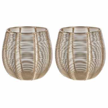 2x waxinelichthouders/waxinelichthouders goud metaaldraad 12 cm