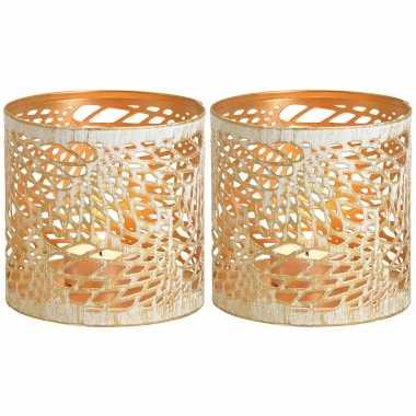 2x waxinelichthouders/waxinelichthouders windlichten metaal wit/goud abstract vleugel patroon 11 cm