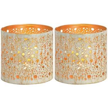 2x waxinelichthouders/waxinelichthouders windlichten metaal wit/goud rondjes/druppels patroon 11 cm