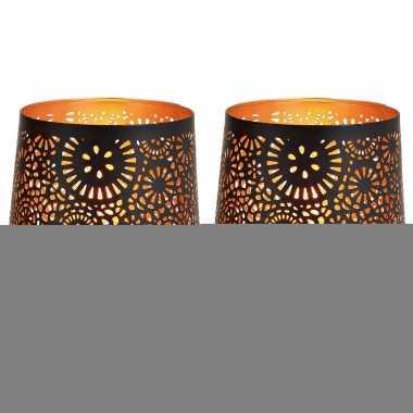 2x waxinelichthouders/waxinelichthouders windlichten zwart/goud rondjes/cirkels patroon 13 cm