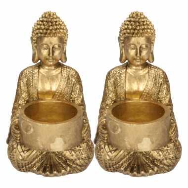 2x zittende boeddha waxinelichthouders goud 14 cm