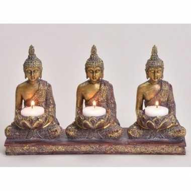3x goud boeddha beeldjes met waxine/waxinelicht houder 17 cm