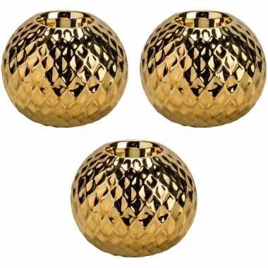 3x gouden waxinelichthouders/waxinelichthouders diamond 9,7 cm