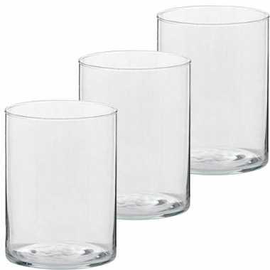 3x hoge waxinelichthouders/waxinelichthouders glas 5,5 x 6,5 cm