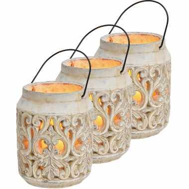 3x stenen waxinelichthouders/waxinelichthouders windlichten/lantaarns wit 19 cm