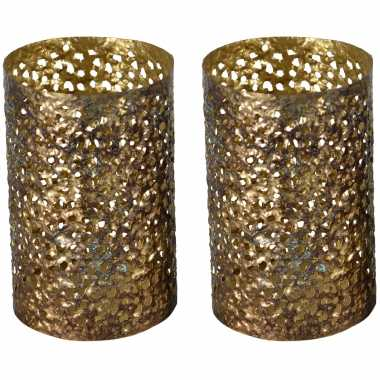 3x stuks metalen waxinelichthouders/waxinelichthouders goud grof motief 14 x 21 cm
