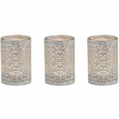 3x stuks waxinelicht/waxinelicht houder zilver antiek 12 cm
