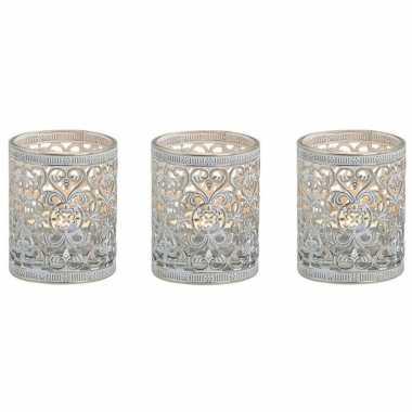 3x stuks waxinelicht/waxinelicht houder zilver antiek 7 cm