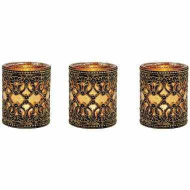 3x stuks waxinelicht/waxinelicht houder zwart/goud antiek 10 cm