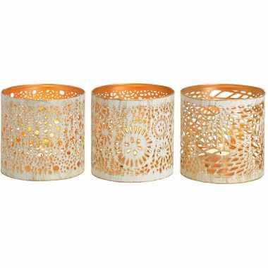 3x waxinelichthouders/waxinelichthouders windlichten set metaal wit/goud 11 cm
