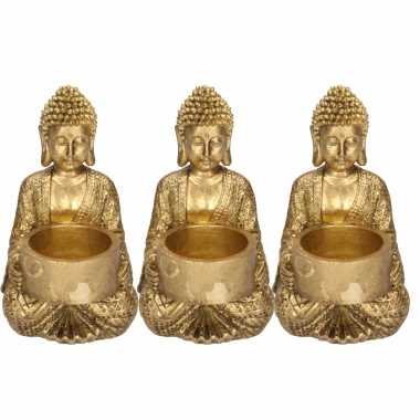 3x zittende boeddha waxinelichthouders goud 14 cm