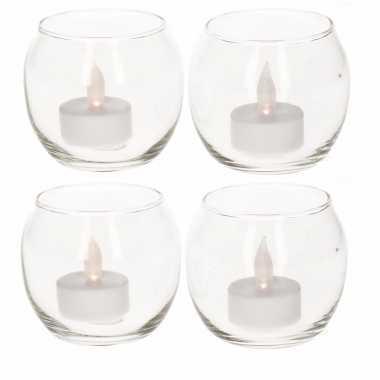 4 waxinelichthouders met led lichtjes