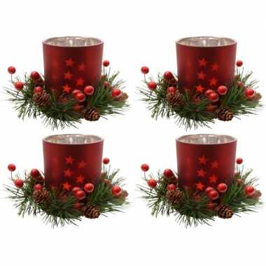 4x kerststukje rode waxinelichthouders 8 cm