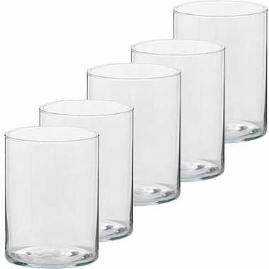 5x hoge waxinelichthouders/waxinelichthouders glas 5,5 x 6,5 cm