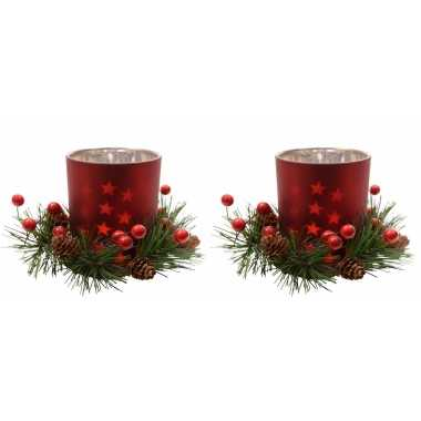 6x stuks kerststukje rode waxinelichthouders 8 cm