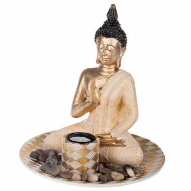 Boeddha beeld met waxinelichthouder voor binnen goud 25 cm