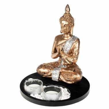 Boeddha beeld met waxinelichthouders goud/wit voor binnen 20 cm