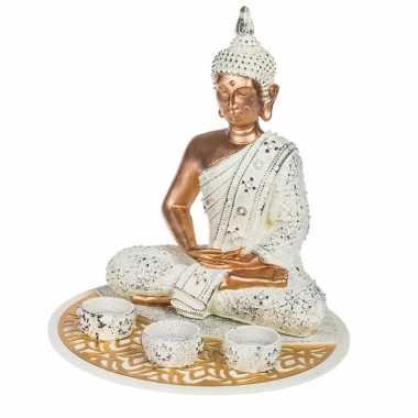 Boeddha beeld met waxinelichthouders voor binnen 29 cm
