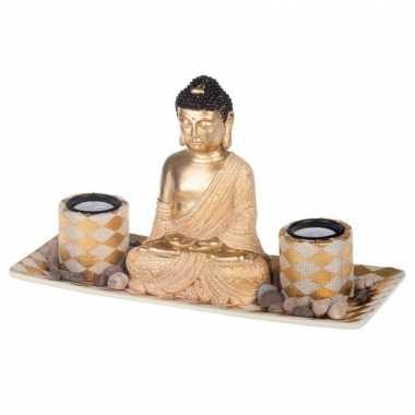 Boeddha beeld met waxinelichthouders voor binnen 31 cm