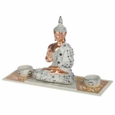 Boeddha beeld met waxinelichthouders voor binnen 33 cm