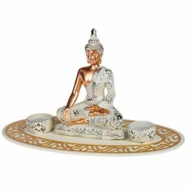 Boeddha beeld met waxinelichthouders voor binnen 35 cm