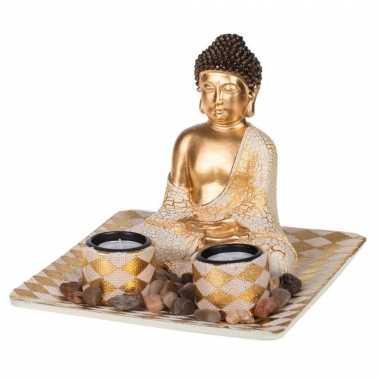 Boeddha beeld met waxinelichthouders voor binnen goud 21 cm