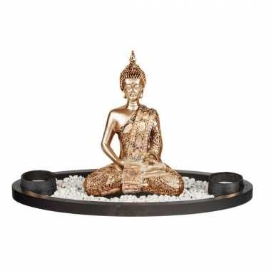 Boeddha beeld met waxinelichthouders voor binnen goud 33 cm