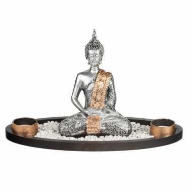 Boeddha beeld met waxinelichthouders voor binnen zilver 33 cm