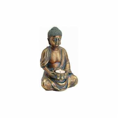 Boeddha beeldje waxinelichthouder goud 23 cm