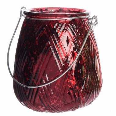 Bordeauxrode waxinelichthouder lantaarn 10 cm
