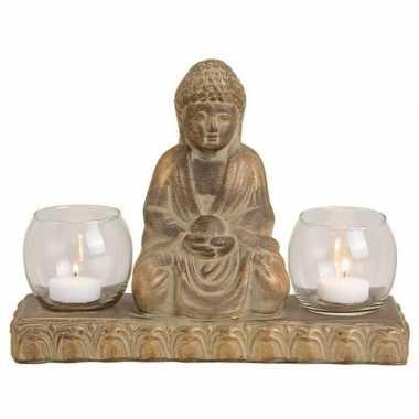 Bruin boeddha beeldje met 2 waxine/waxinelicht houders 21 cm