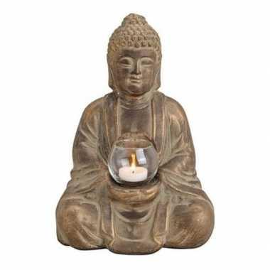 Bruin boeddha beeldje met waxine/waxinelicht houder 31 cm
