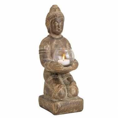 Bruin boeddha beeldje met waxine/waxinelicht houder 33 cm