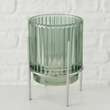 Glazen waxinelicht/waxinelicht houder groen 8 x 11 cm